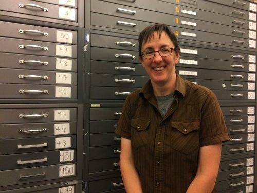 Julia Larson in the archives